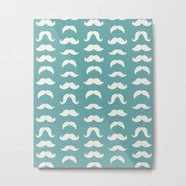 Hipster Moustache Pattern - Teal Blue Metal Print