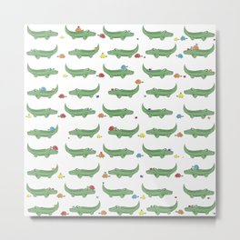 Alligator, Snail and Turtle Party - Children - 57 Montgomery Ave Metal Print