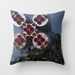 The Soyuz rocket is rolled out by train to the launch pad Friday Dec 15 2017 Throw Pillow