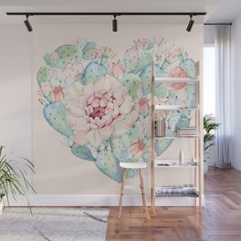 Cactus Rose Heart on Pink Wall Mural