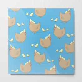Adorable Hen and Baby Chicks Pattern Chickens with Blue Background Metal Print