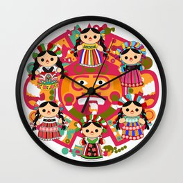 Mexican Dolls Wall Clock
