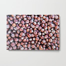 Pattern Of Hazel Or Filbert Nuts Of Brown Color Metal Print