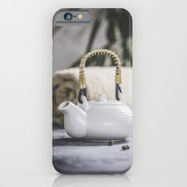 Tea set and spa settings on concrete background. Natural spa treatment and relaxation concept iPhone Case