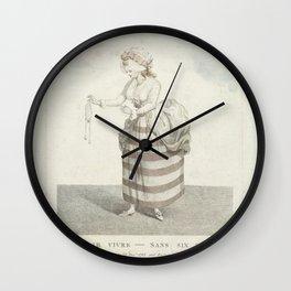 George Stubbs - Vrouw in gestreepte japon met lege beurs in haar hand Wall Clock