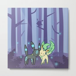 Shiny umbreon and leafeon in night forest Metal Print