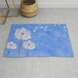 flying dandelion watercolor painting Rug