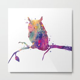 Owl Art Birds Gift Colorful Watercolor Art Animal Lovers Art Gift Wildlife Nature Metal Print
