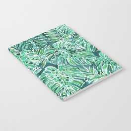 JUNGLE VIBES Green Monstera Watercolor Print Notebook