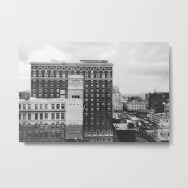 Black & White Brick & Mortar Metal Print
