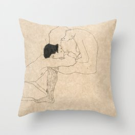 "Egon Schiele ""Lovers"" Throw Pillow"