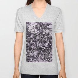 """Albrecht Dürer """"Four Horsemen of the Apocalypse"""" Unisex V-Neck"""
