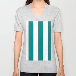 Wide Vertical Stripes - White and Dark Cyan Unisex V-Neck