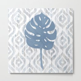 Indigo Ikat Tropical Monstera Metal Print