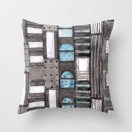 Gray Facade with Lighted Windows Throw Pillow