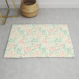 Coral and Mint Florals Rug