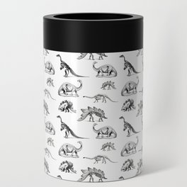 Museum Animals | Dinosaur Skeletons on White Can Cooler