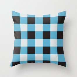 Bright Blue & Black Checkered Squares Throw Pillow