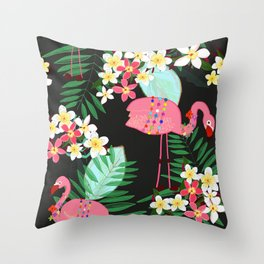 Tropical pattern with frangipani and flamingo with black background Throw Pillow