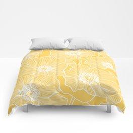 Sunshine Yellow Poppies Comforters