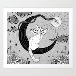 Two Headed Three Eyed Cat Digital Drawing Art Print