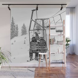 Snow Lift // Ski Chair Lift Colorado Mountains Black and White Snowboarding Vibes Photography Wall Mural
