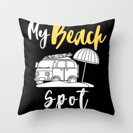 Bus Beach Place Throw Pillow