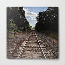 Train Track Path Into the Distant Horizon Metal Print