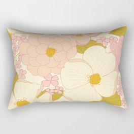 Pink Pastel Vintage Floral Pattern Rectangular Pillow