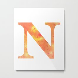 Letter N Art/ Initial N/ Typography Art Metal Print