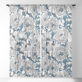 White peonies and blue tit birds Sheer Curtain