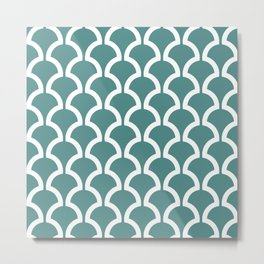 Classic Fan or Scallop Pattern 473 Teal Green Metal Print