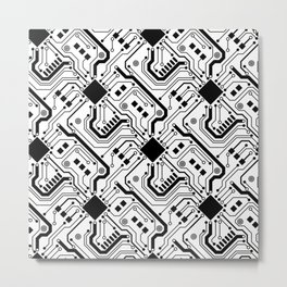 Printed Circuit Board - Black on White Metal Print