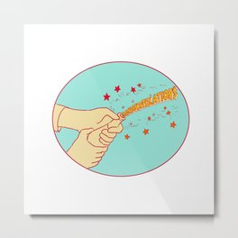 Congratulations Hand Popping Champagne Drawing Metal Print