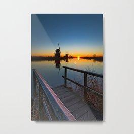 Kinderdijk windmill, UNESCO world heritage site Metal Print