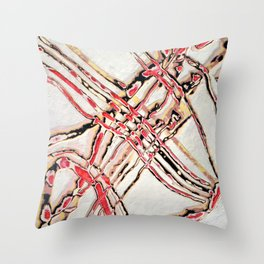 Bones (White and Red Abstract Lines) Throw Pillow