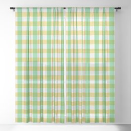 mint yellow plaid Sheer Curtain