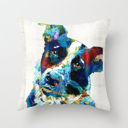 Colorful Dog Art - Irresistible - By Sharon Cummings Throw Pillow