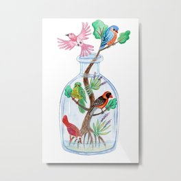 Birds in a Bottle Watercolor Painting Metal Print