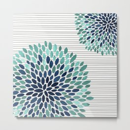 Blooms and Stripes, Aqua and Navy Metal Print