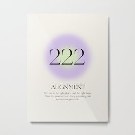 Angle Number 222   Aura Energy   Alignment Metal Print