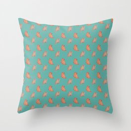 Teal Kitty Pattern Throw Pillow