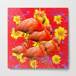 YELLOW FLOWERS & 5 RED  SAFFRON FLAMINGOS ART Metal Print