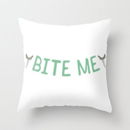 Shark Tooth Bite me Typography Throw Pillow