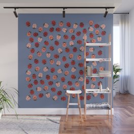 All over Modern Ladybug on Plum Background Wall Mural