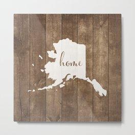 Alaska is Home - White on Wood Metal Print