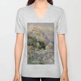 Overlooking the Hohenwerfen Fortress in Salzburg by Edward Theodor Compton Unisex V-Neck