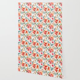 Red Turquoise Teal Floral Watercolor Wallpaper