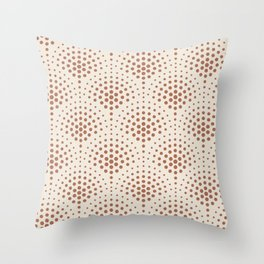 Cavern Clay SW 7701 Polka Dot Scallop Fan Pattern on Creamy Off White SW7012 Throw Pillow