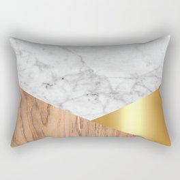 Geometric White Marble - Wood & Gold #884 Rectangular Pillow